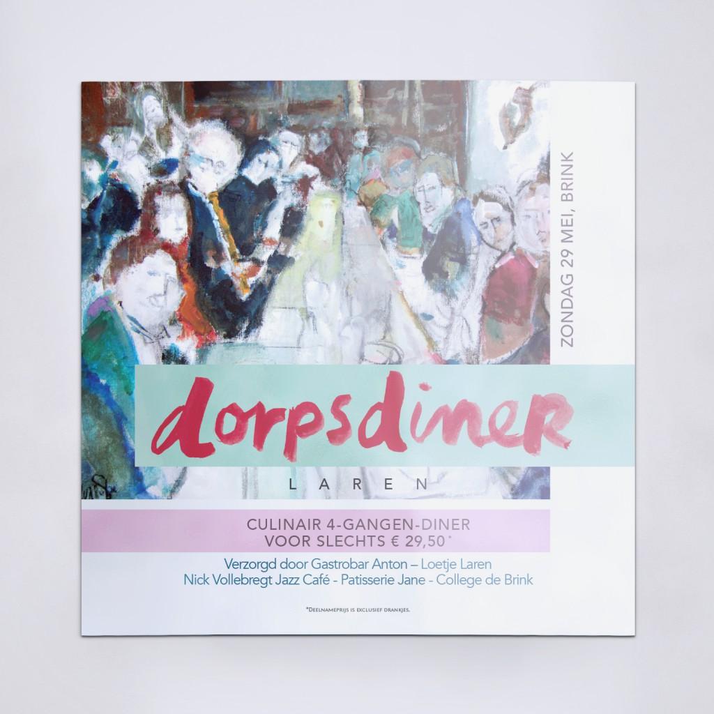 Ontwerp uitnodiging Dorpsdiner Laren 2016
