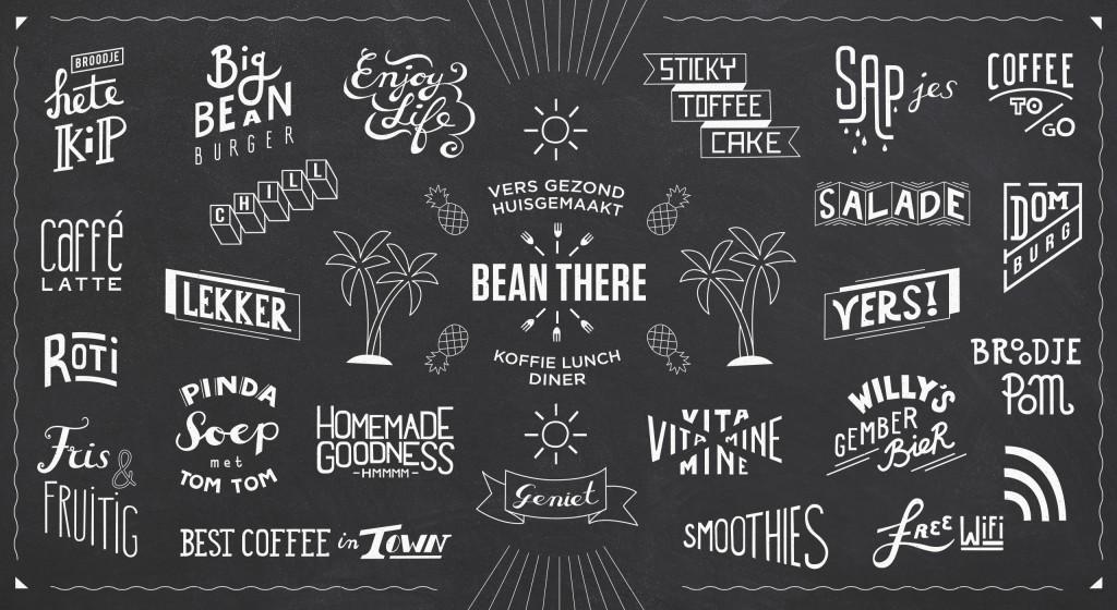 Bean There huisstijl beeldBean There huisstijl handgetekende beeldtaal ontwerptaal ontwerp