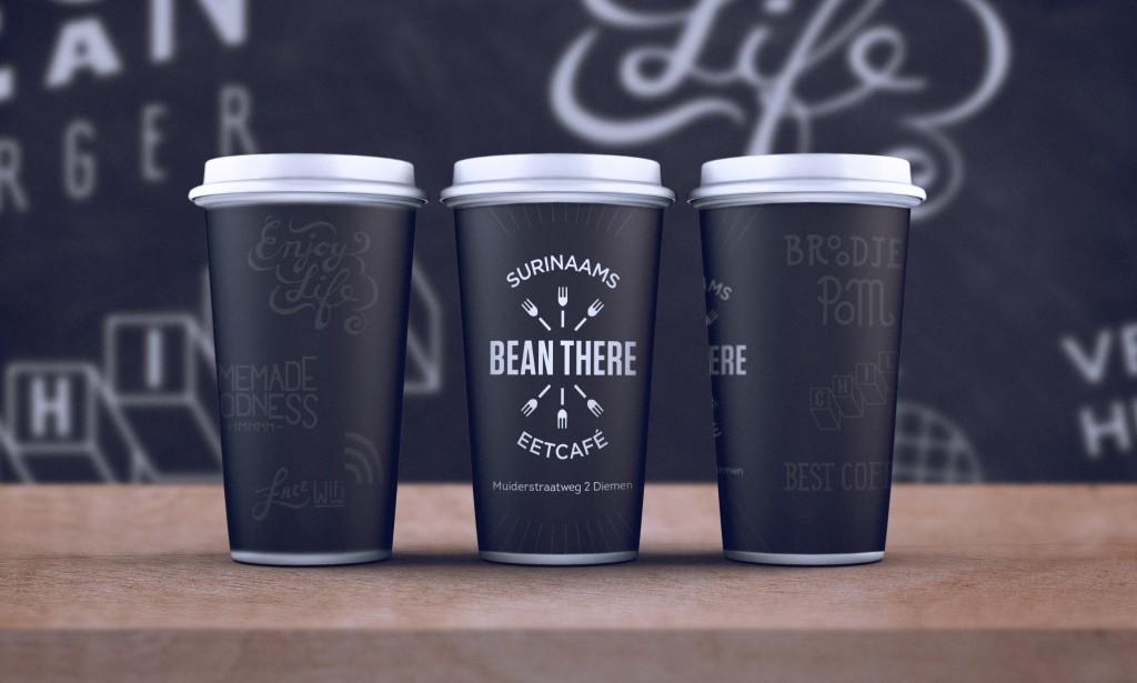 Bean There koffiebeker belettering ontwerp