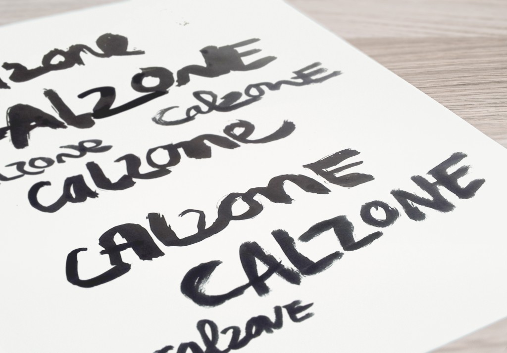 Handlettering sumibrush inkt penseel Calzone