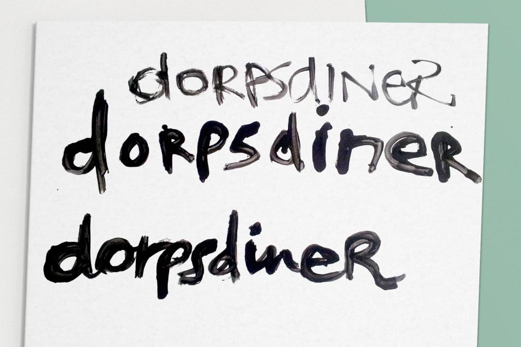 Dorpsdiner handgetekend woordmerk schets