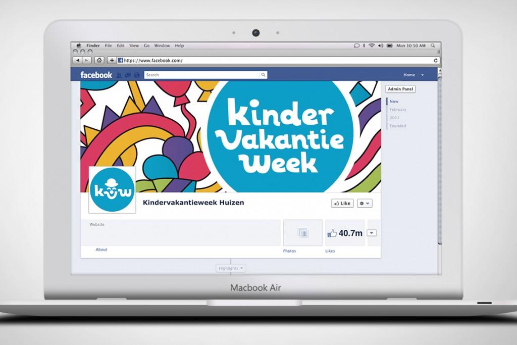 Facebook headerontwerp Kindervakantieweek Huizen in scherm2