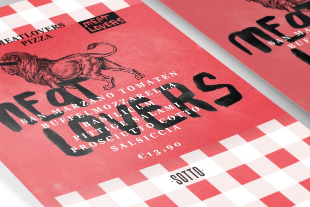 Flyer ontwerp Meatlovers Sotto Amsterdam perspectief