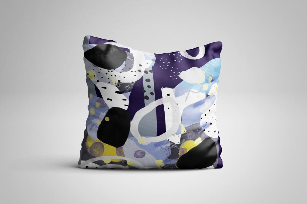 Handgetekend patroon ontwerp stof kussen