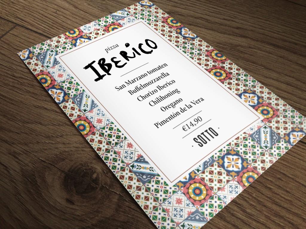 Ontwerp flyer pizza van de maand Iberico Sotto Amsterdam