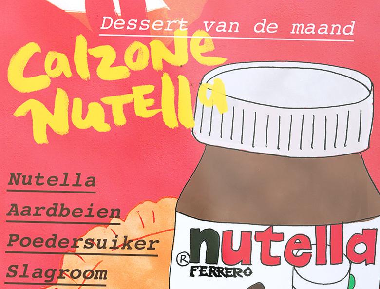 Ontwerp promotiekaartje Calzone Nutella Sotto Amsterdam closeup