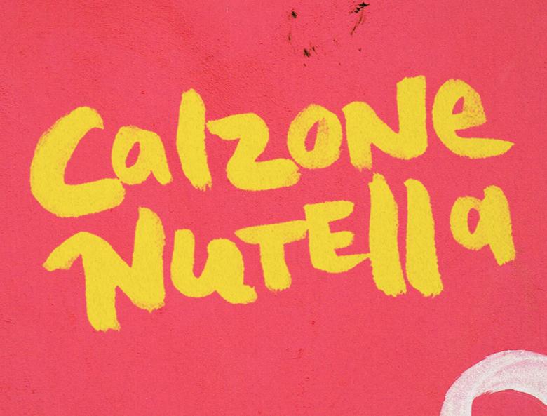Ontwerp tafelkaart Calzone Nutella Sotto Amsterdam closeup