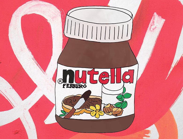 Handgetekende illustratie Nutella Sotto Amsterdam tafelkaartje