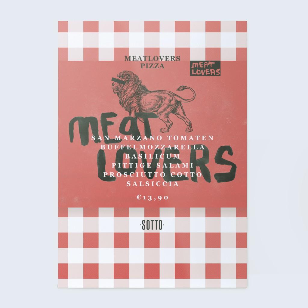 Ontwerp maandkaart Meatlovers Sotto Amsterdam