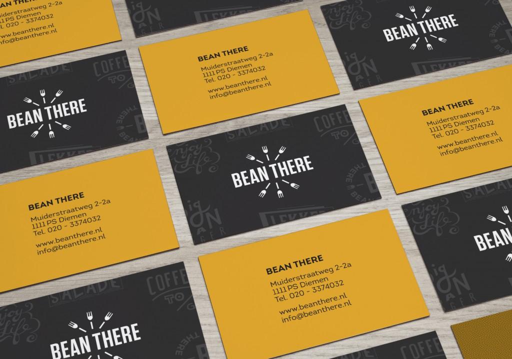 Ontwerp visitekaartjes lunchroom Bean There Diemen