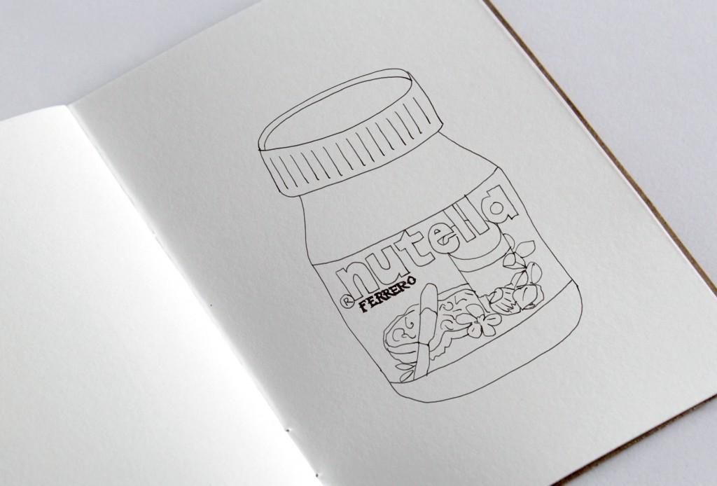 Handgetekende illustratie pot Nutella