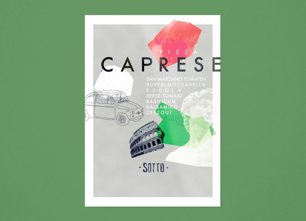 Tafelkaartje Pizza Caprese Sotto Amsterdam vooraanzicht