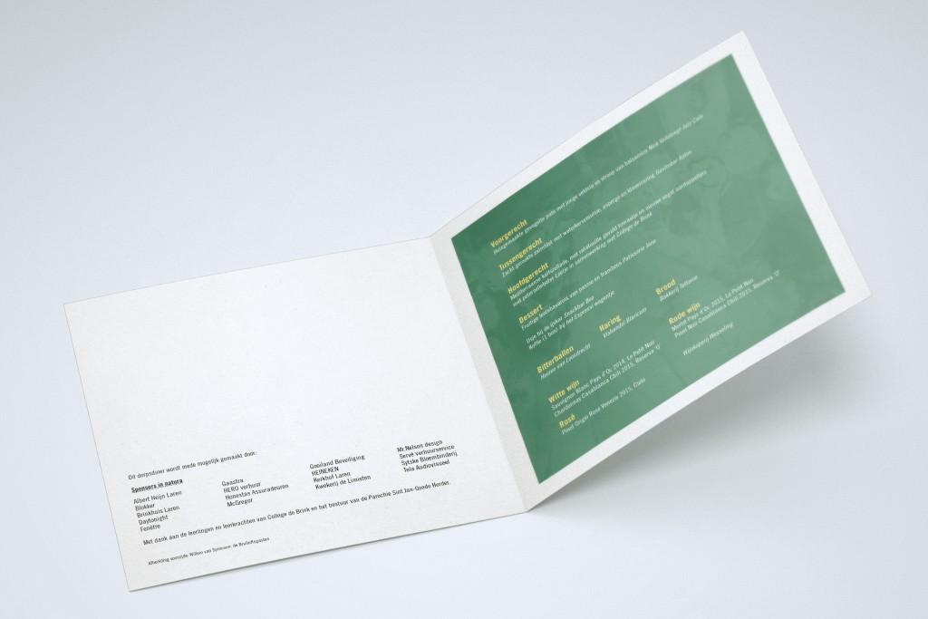 Ontwerp menukaart Dorpsdiner Laren 2016 binnenzijde